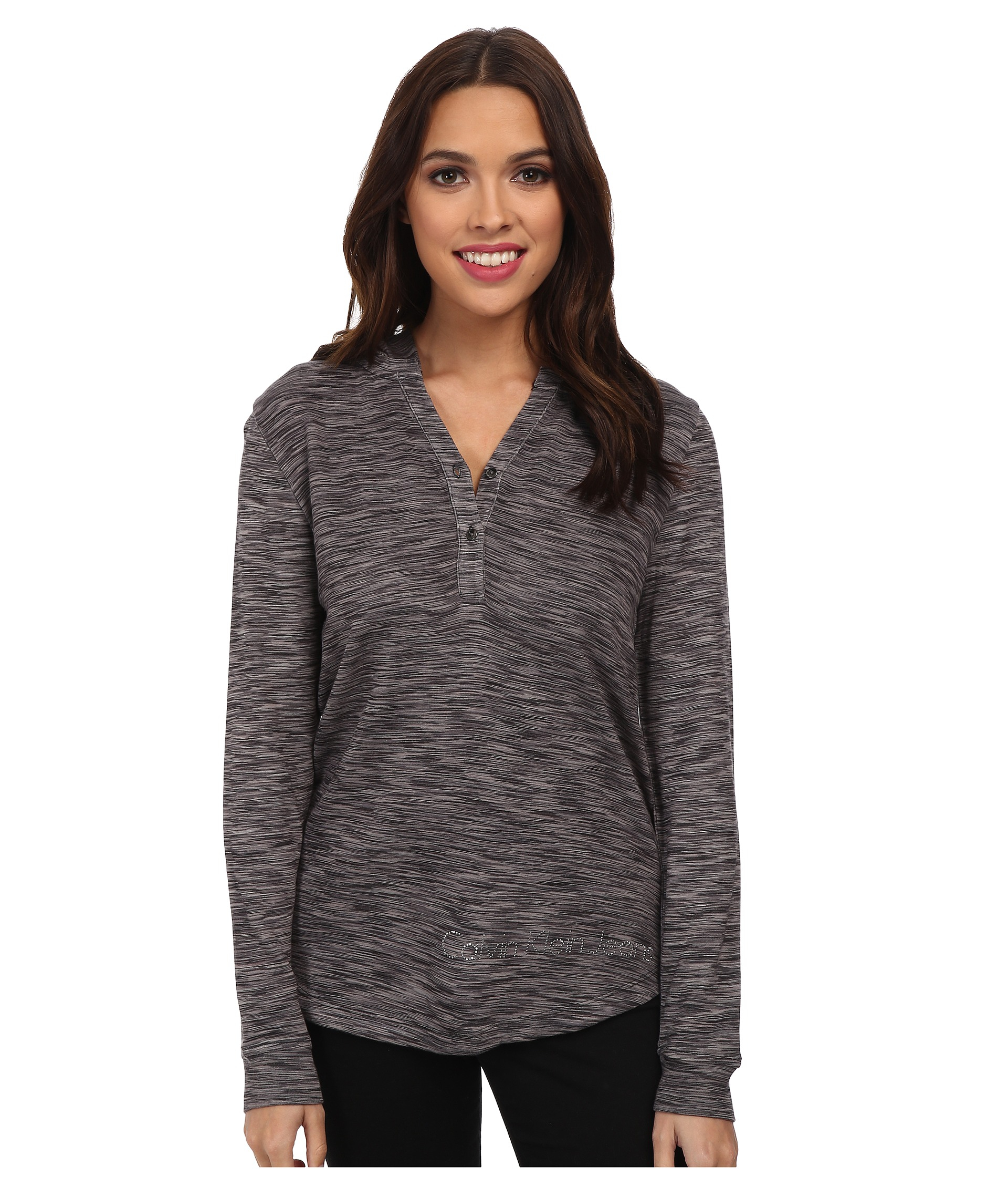 calvin klein jeans l s henley hoodie in gray lyst. Black Bedroom Furniture Sets. Home Design Ideas