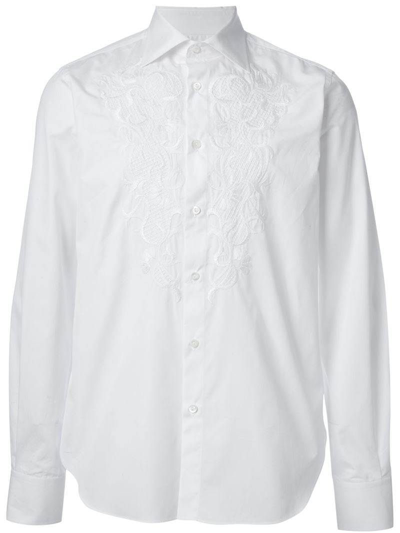 Lyst ermanno scervino embroidered shirt in white for men