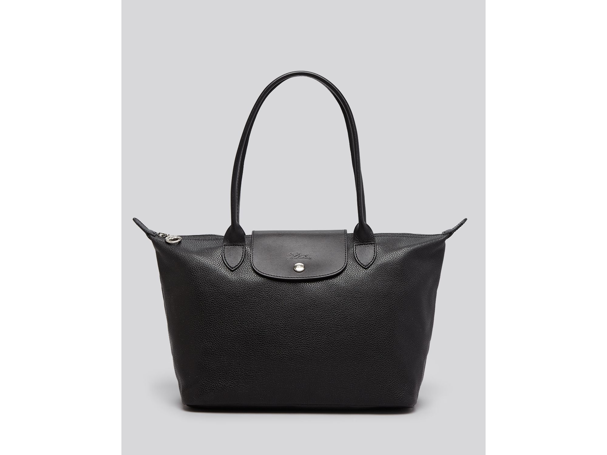 Lyst - Longchamp Veau Foulonne Zip Top Tote in Black e9eca029e7