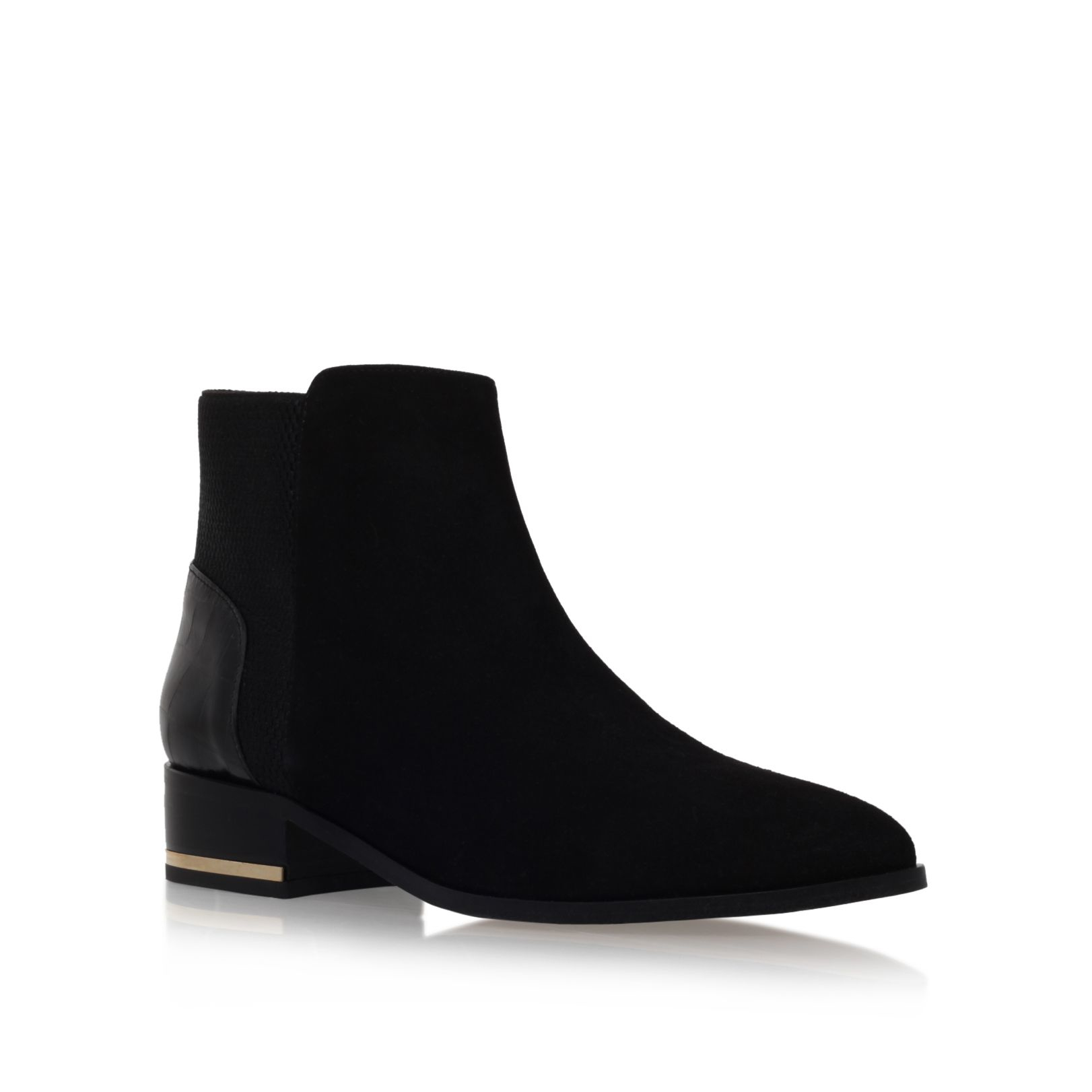 kurt geiger nevern flat pointed toe ankle boots in black