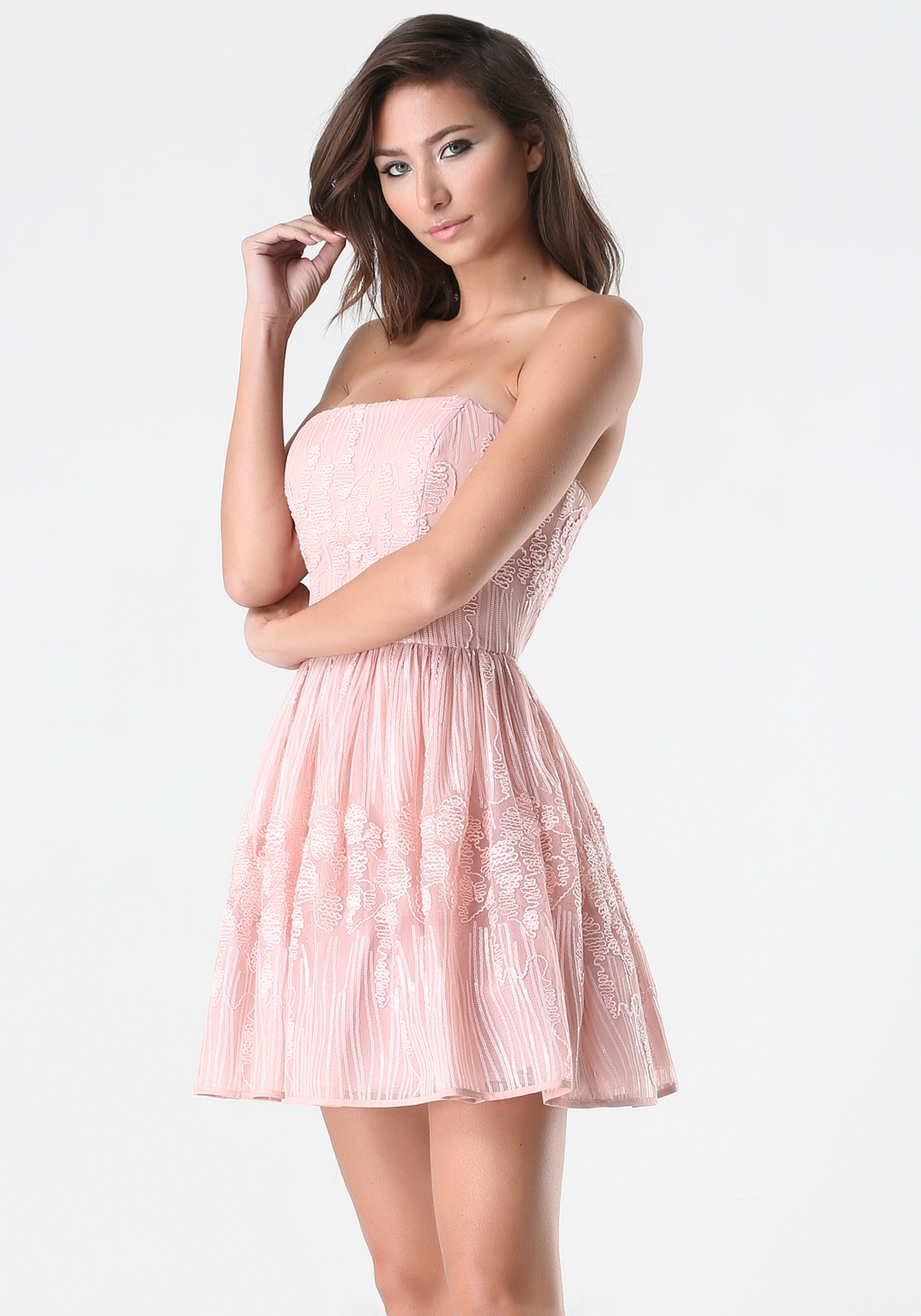 Lyst Bebe Sequin Strapless Dress In Pink
