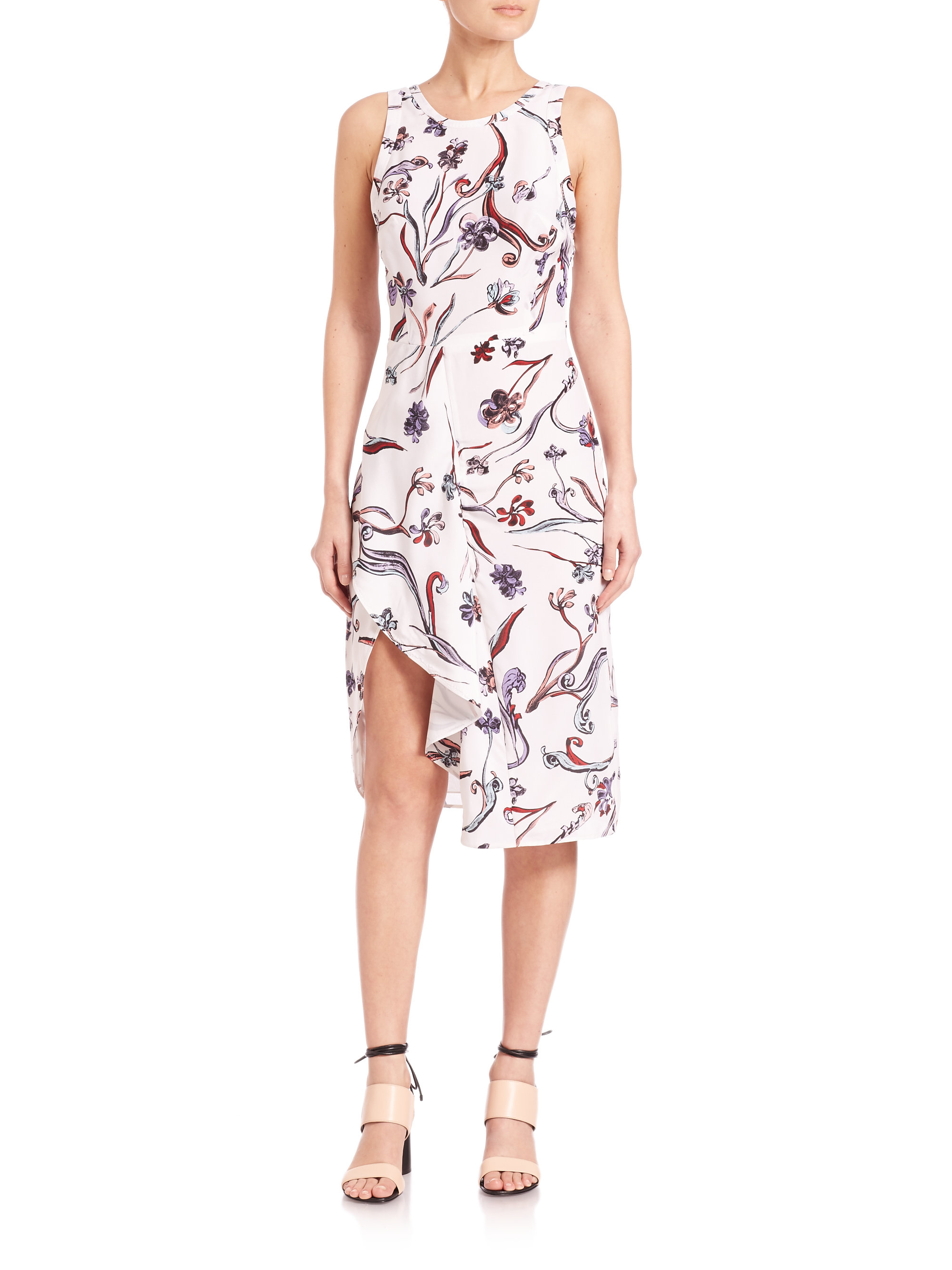 3.1 Phillip Lim Woman Embellished Floral-print Paneled Silk-twill Dress White Size 4 3.1 Phillip Lim Particular rlxW3TjKs