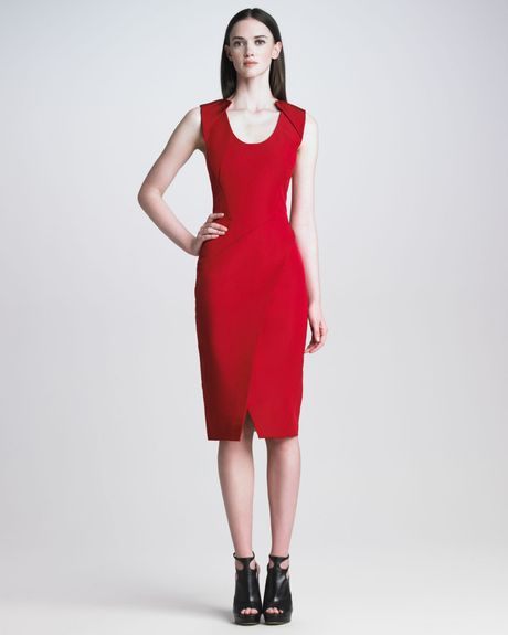 J. Mendel Sleeveless Silk Faille Dress in Red (scarlet)