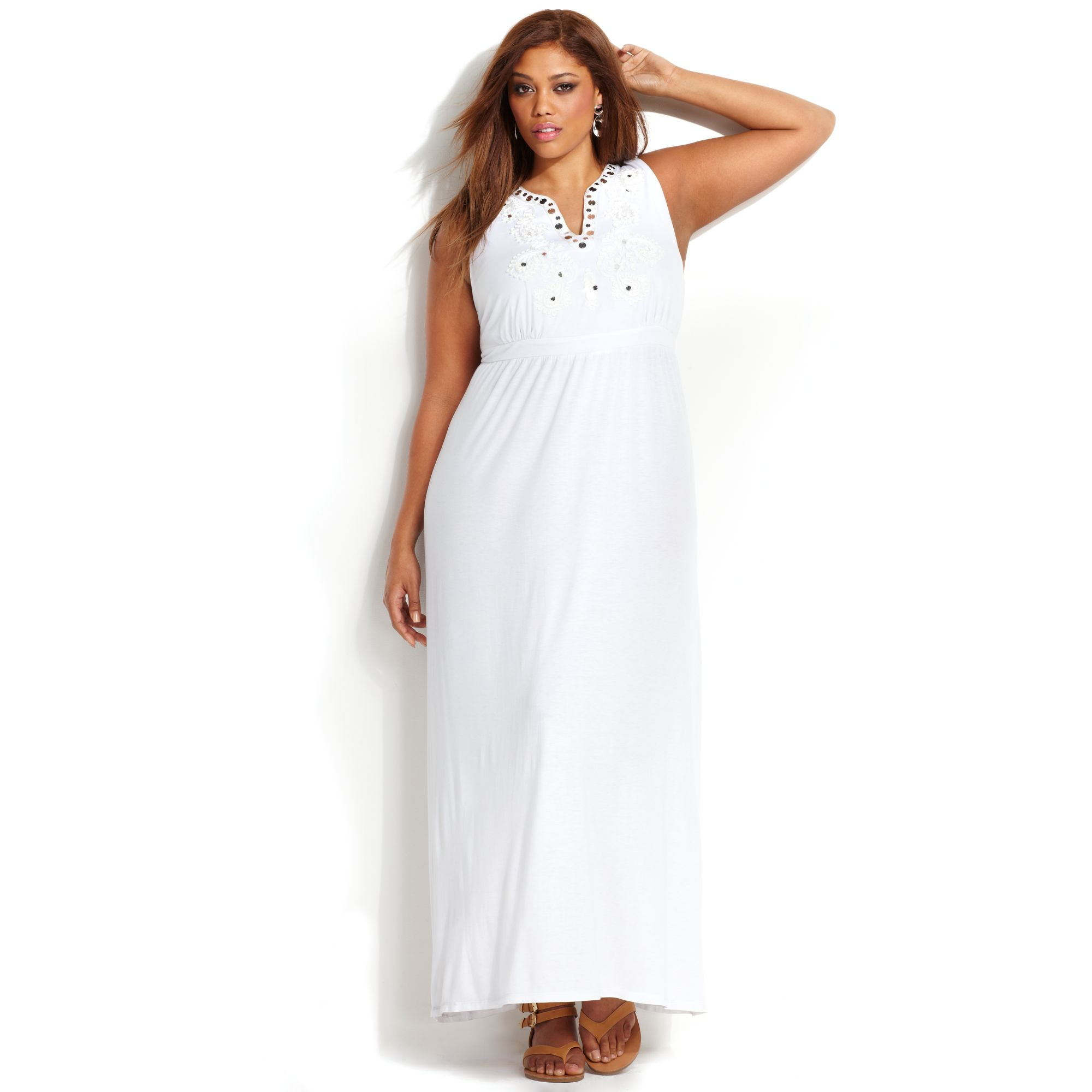 INC International Concepts White Plus Size Embroidered Maxi Dress