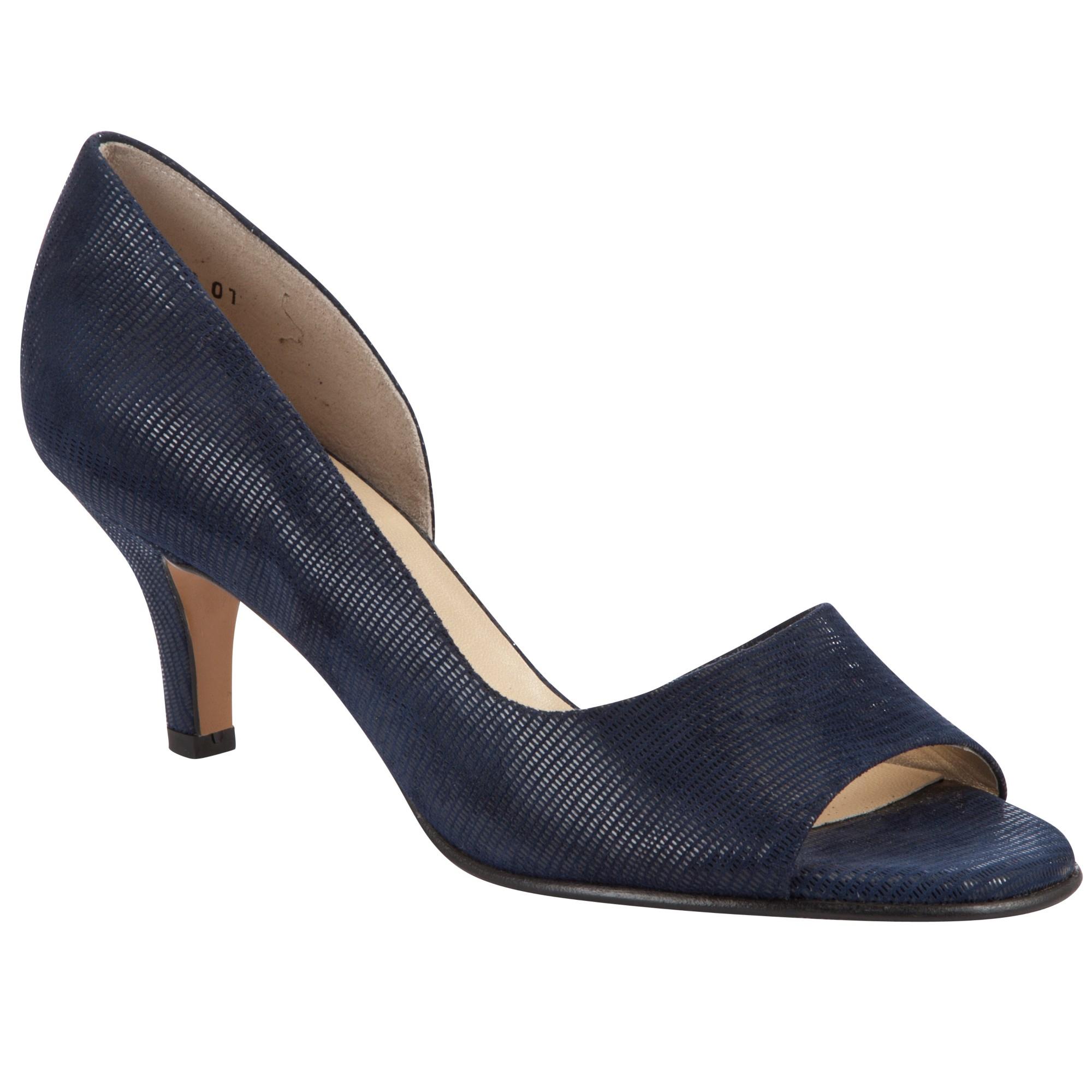 sports shoes e6380 571ed Peter Kaiser Leather Jamala Peep Toe Heeled Sandals in Navy ...