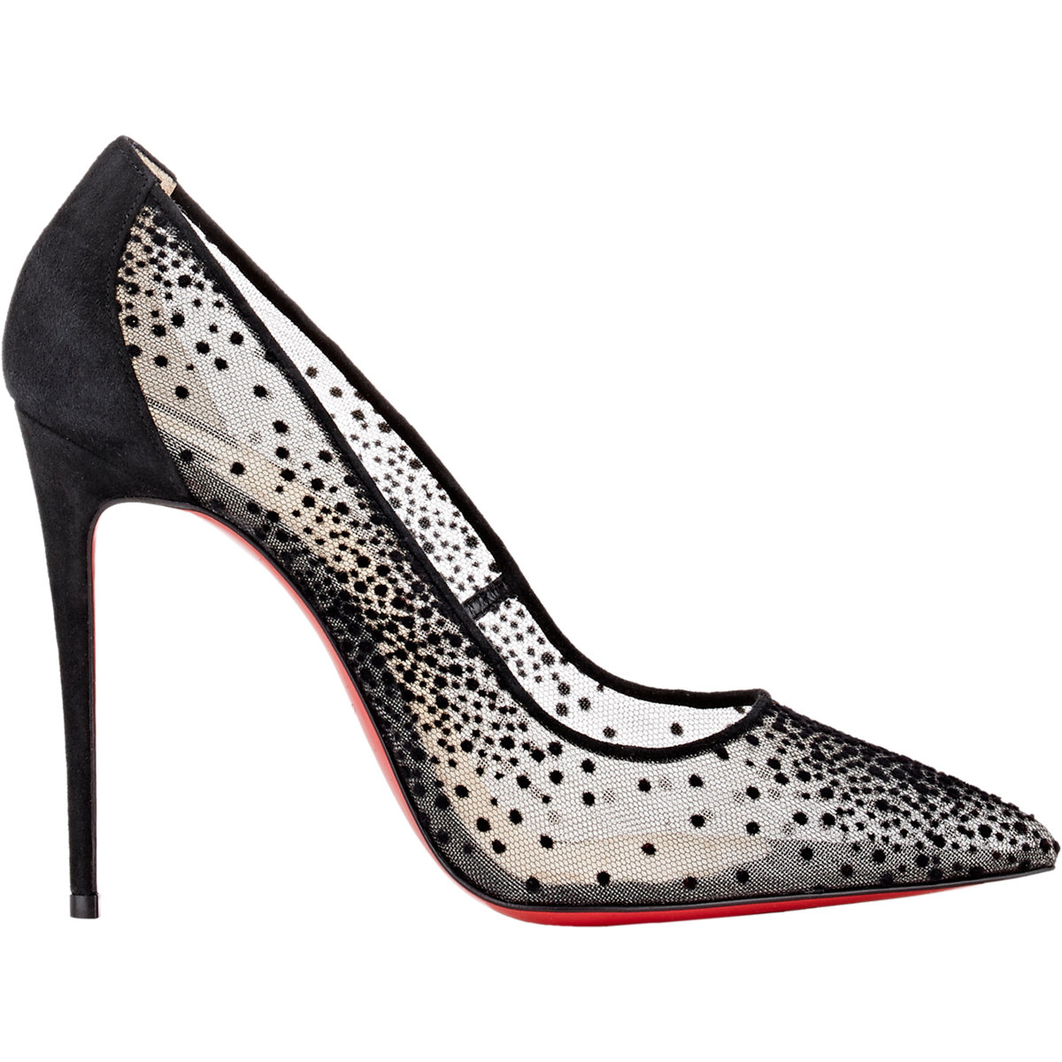timeless design b9ad1 c58ef Christian Louboutin Follies Lace and Chiffon Pumps in Black ...