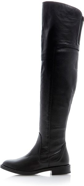 topshop torrent soft leather the knee boots in black
