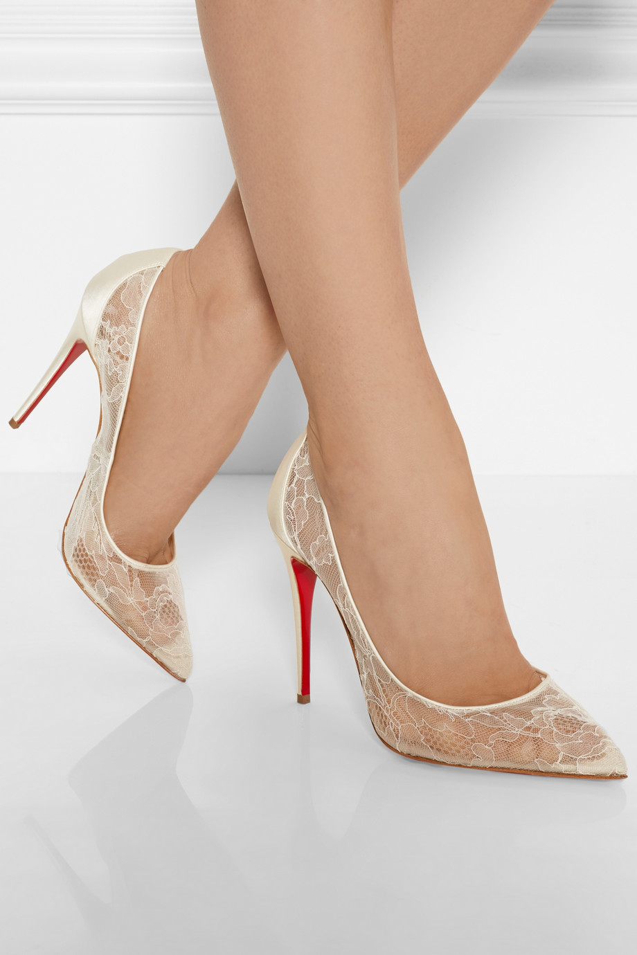5bdc53f6246e Lyst - Christian Louboutin Follies 100 Lace And Satin Pumps in Natural