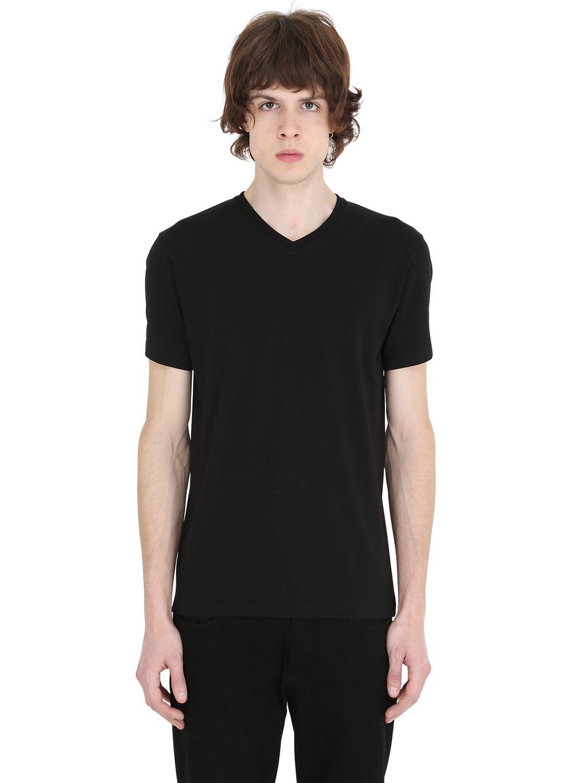 Jil sander v neck stretch cotton t shirt in black for men for Jil sander mens shirt