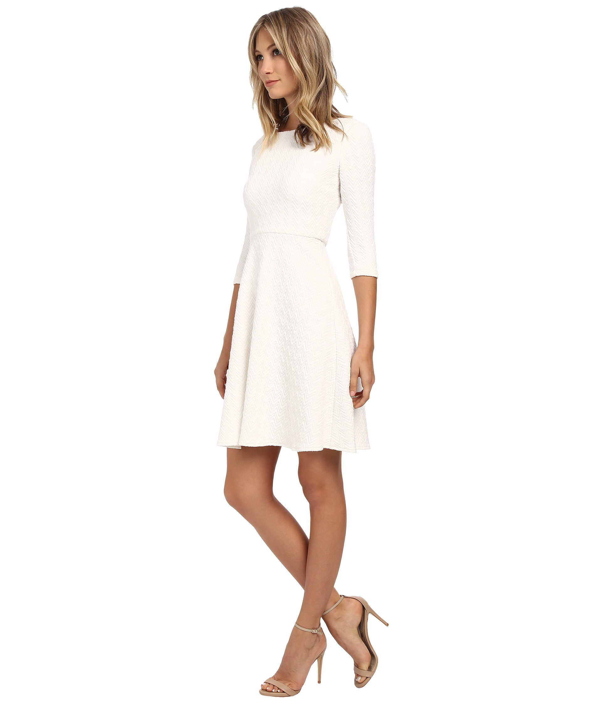 dd99b580018e82 Donna Morgan 3/4 Sleeve Chevon Knit Fit & Flare Dress in Pink - Lyst