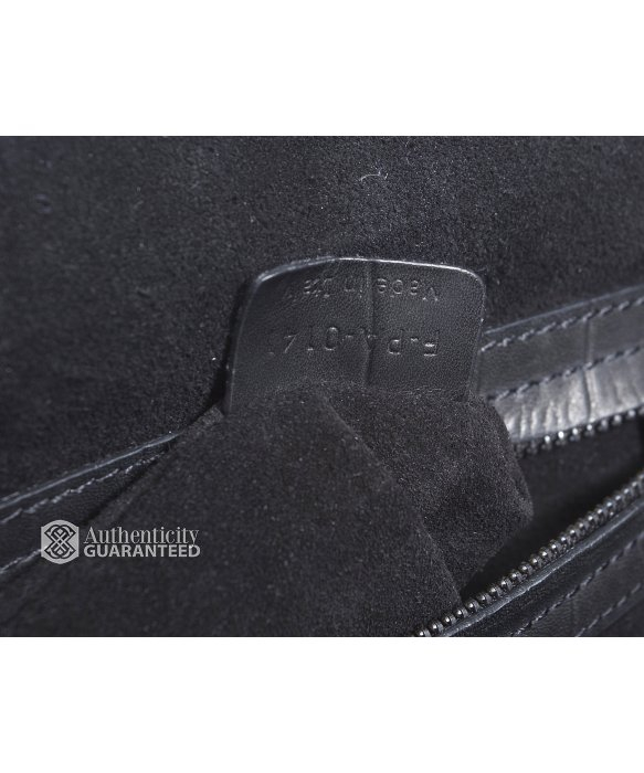 preowned celine black leather and white crocodile medium luggage tote handbag