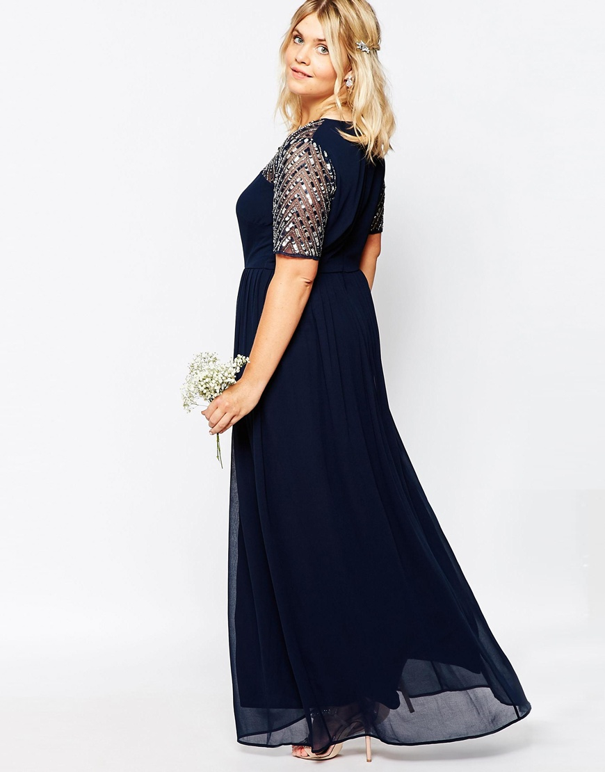 3aa9f8138e Lovedrobe Luxe Navy Short Sleeve Maxi Dress