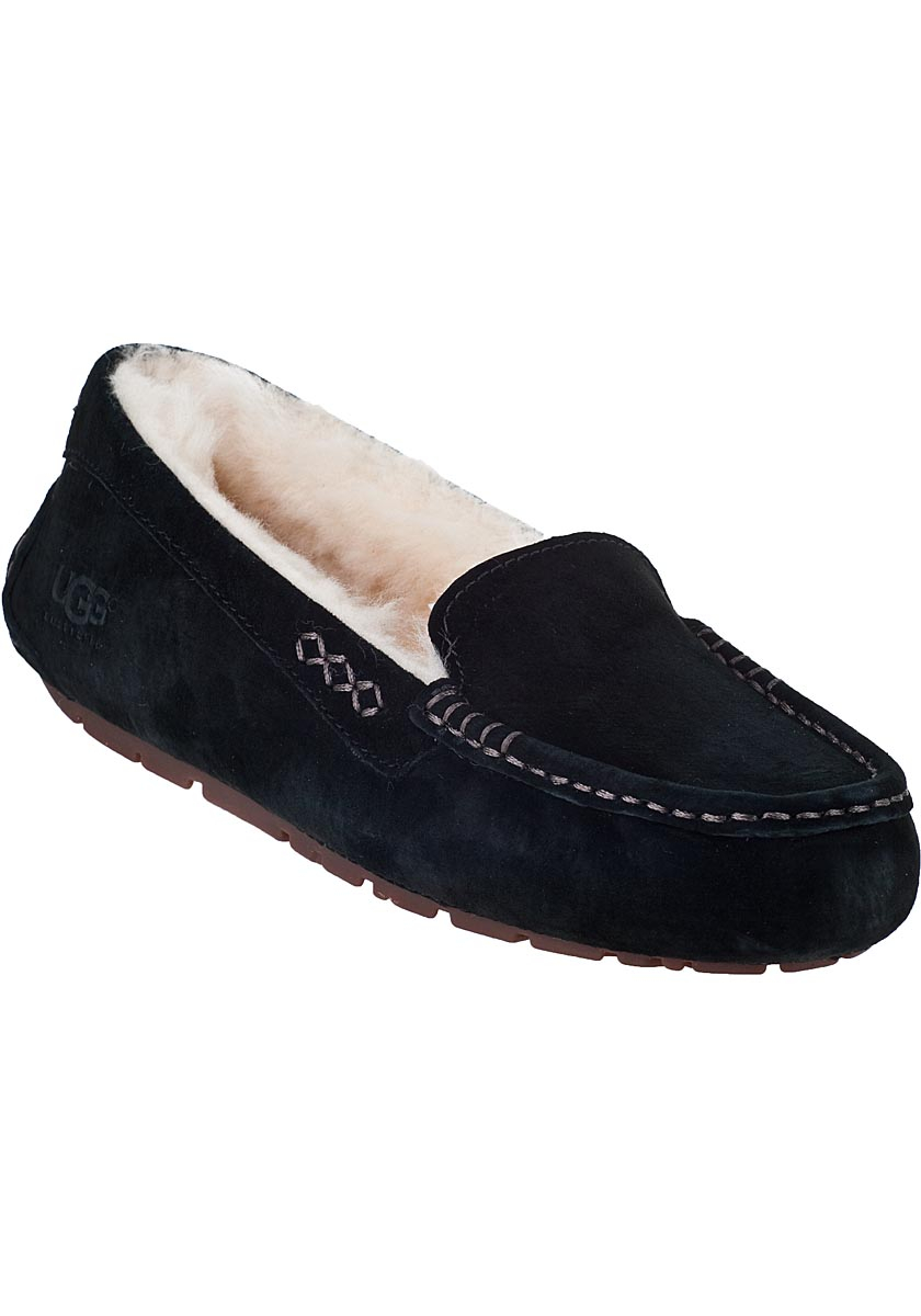 ugg ansley slipper black suede in black lyst