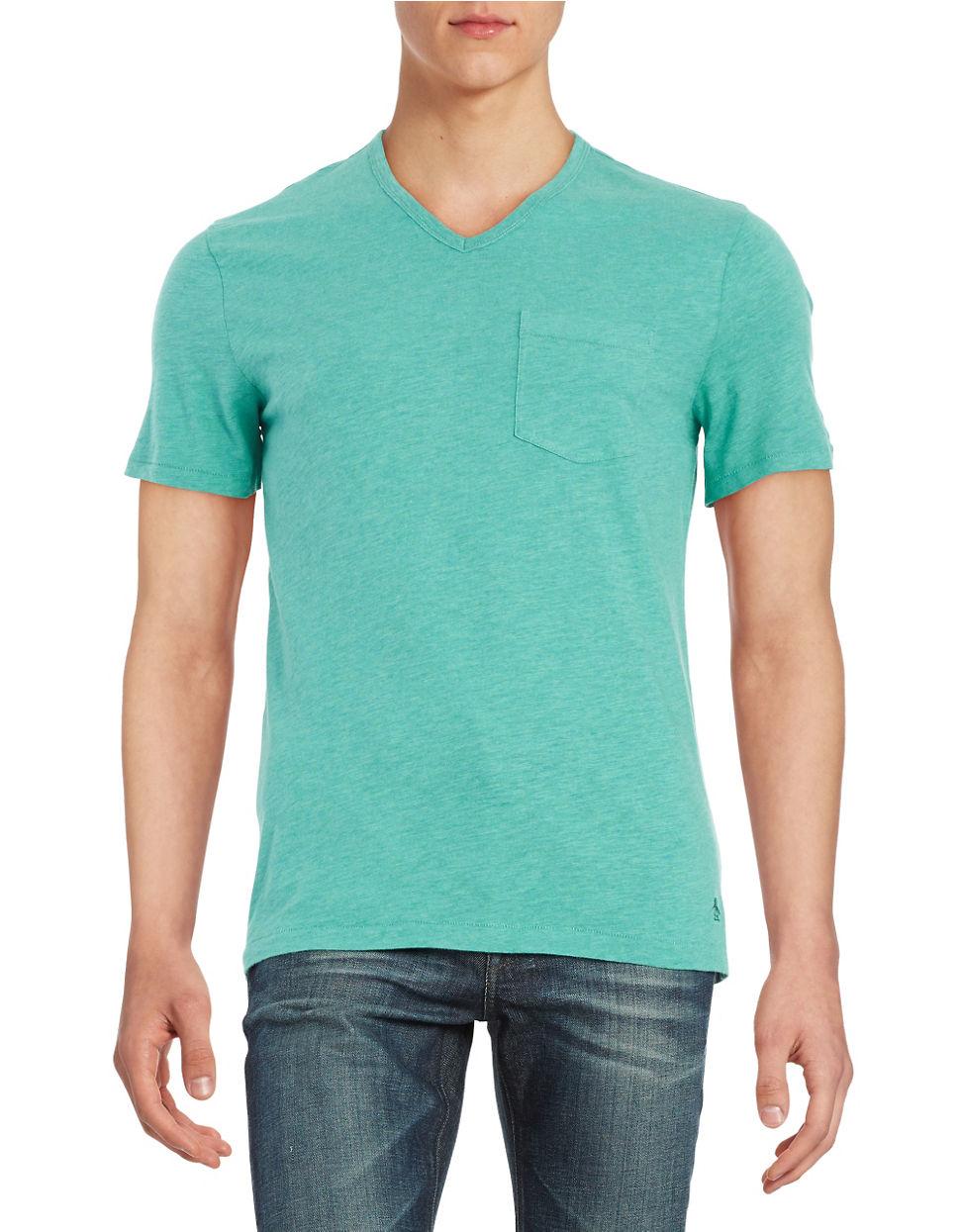 Lyst original penguin v neck pocket tee in blue for men for Men s v neck pocket tee shirts