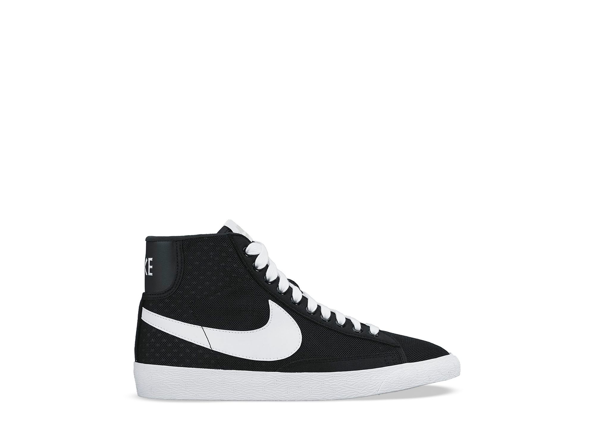 92cdaefaaedd ... official lyst nike lace up high top sneakers womens blazer mid mesh in  black 8b351 53385