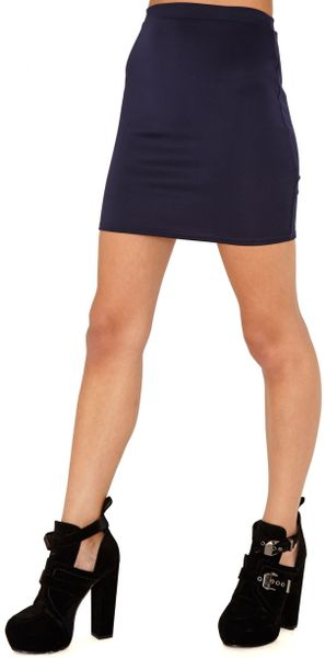 missguided nancy bodycon mini skirt in navy in blue navy