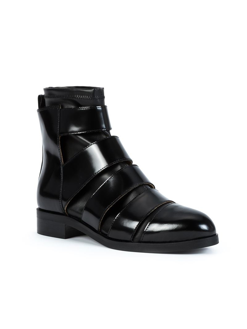 Lyst mm6 by maison martin margiela panelled boots in black for Mm6 maison margiela