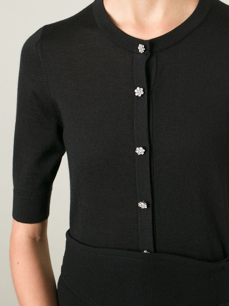Dolce & gabbana Crystal Buttons Cardigan in Black | Lyst