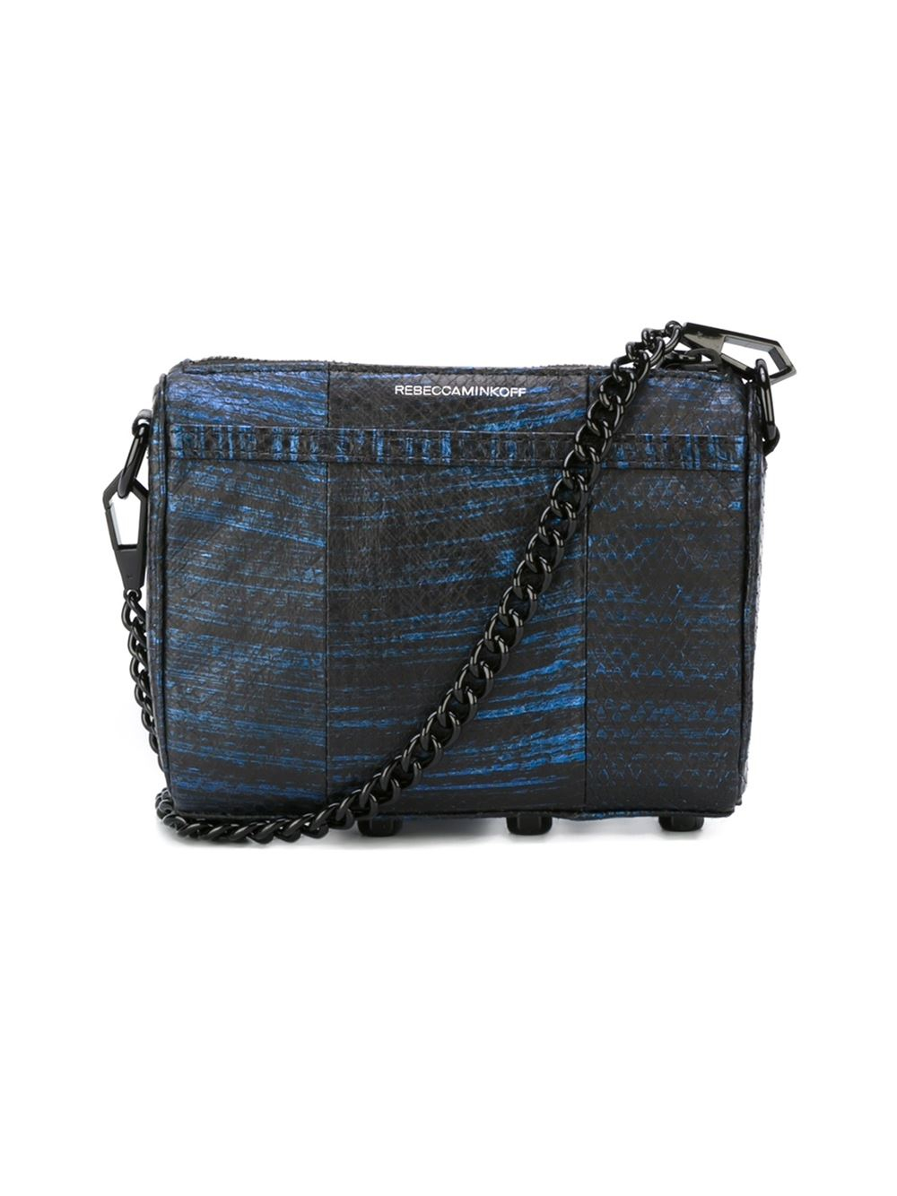 Rebecca Minkoff Leather Snakeskin Effect Crossbody Bag in Blue