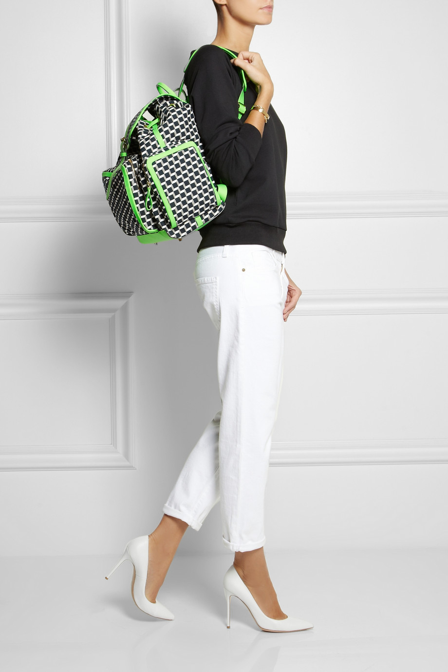 Pierre Hardy Neon Leather-Trimmed Printed Cotton-Canvas Backpack in Black (Green)
