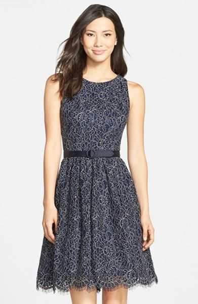 eliza j belted lace fit flare dress in blue navy lyst