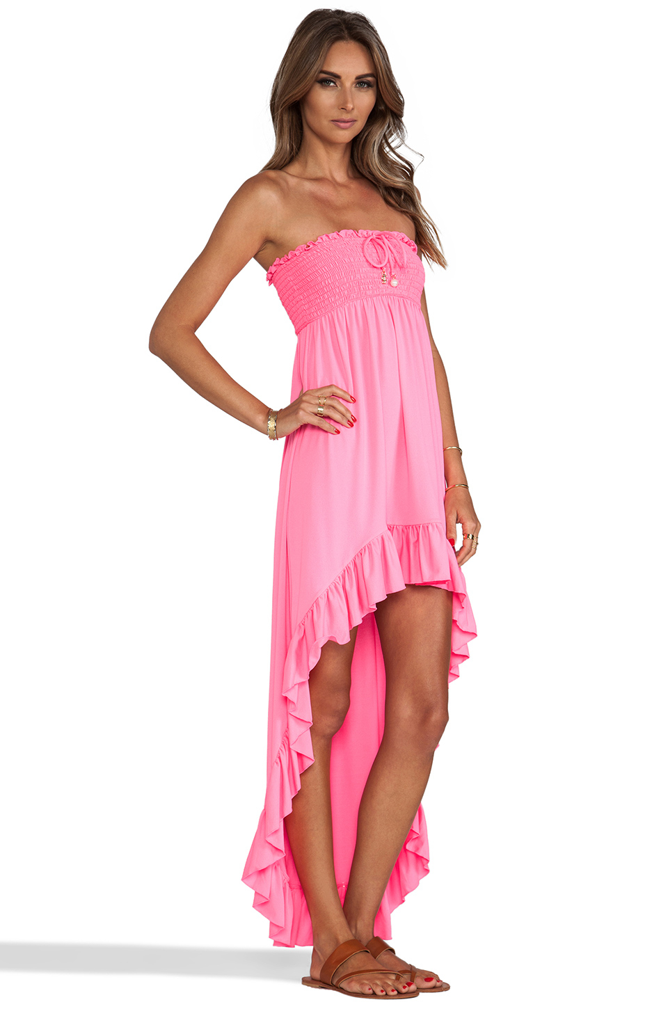 Lyst juicy couture bow chic high low cover up dress in pink for High couture dresses