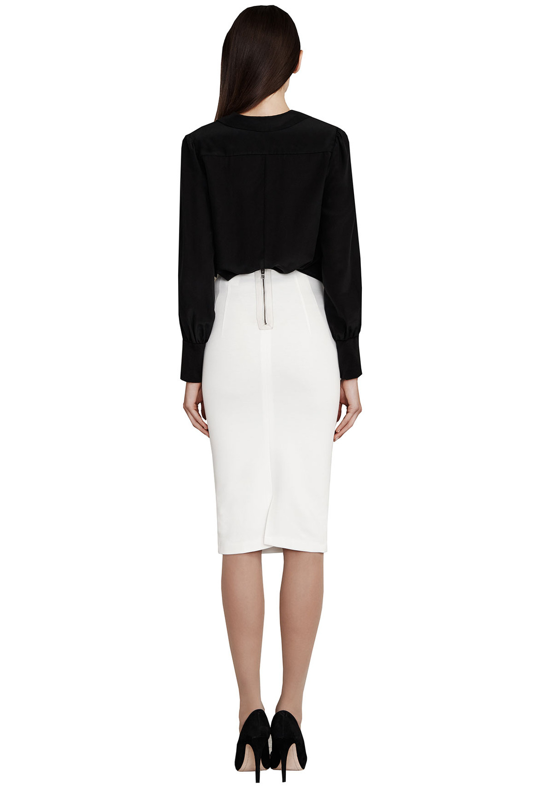 Alice   olivia Super High Waist Pencil Skirt in Natural | Lyst