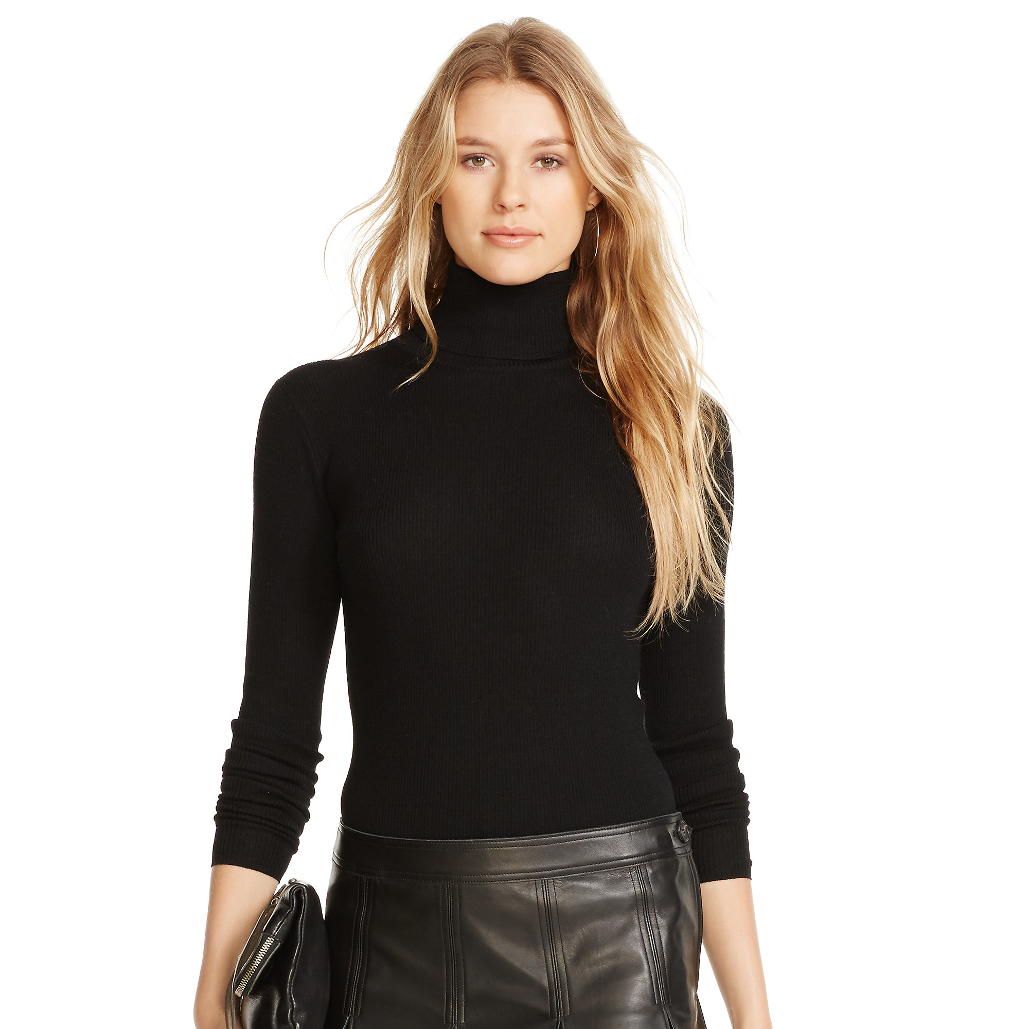 Polo ralph lauren Ribbed Merino Wool Turtleneck in Black | Lyst