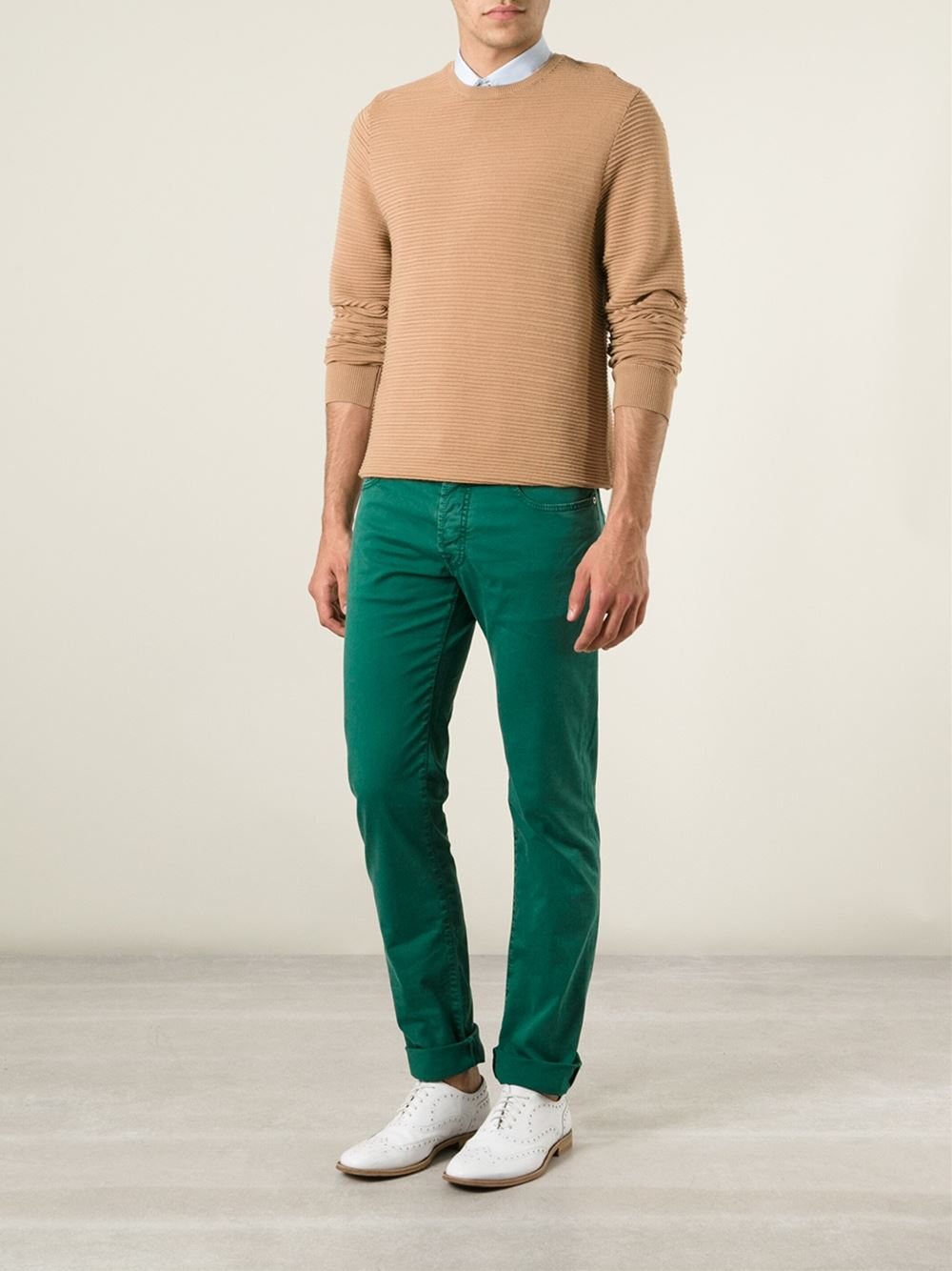 jacob cohen classic slim jeans in green for men lyst. Black Bedroom Furniture Sets. Home Design Ideas