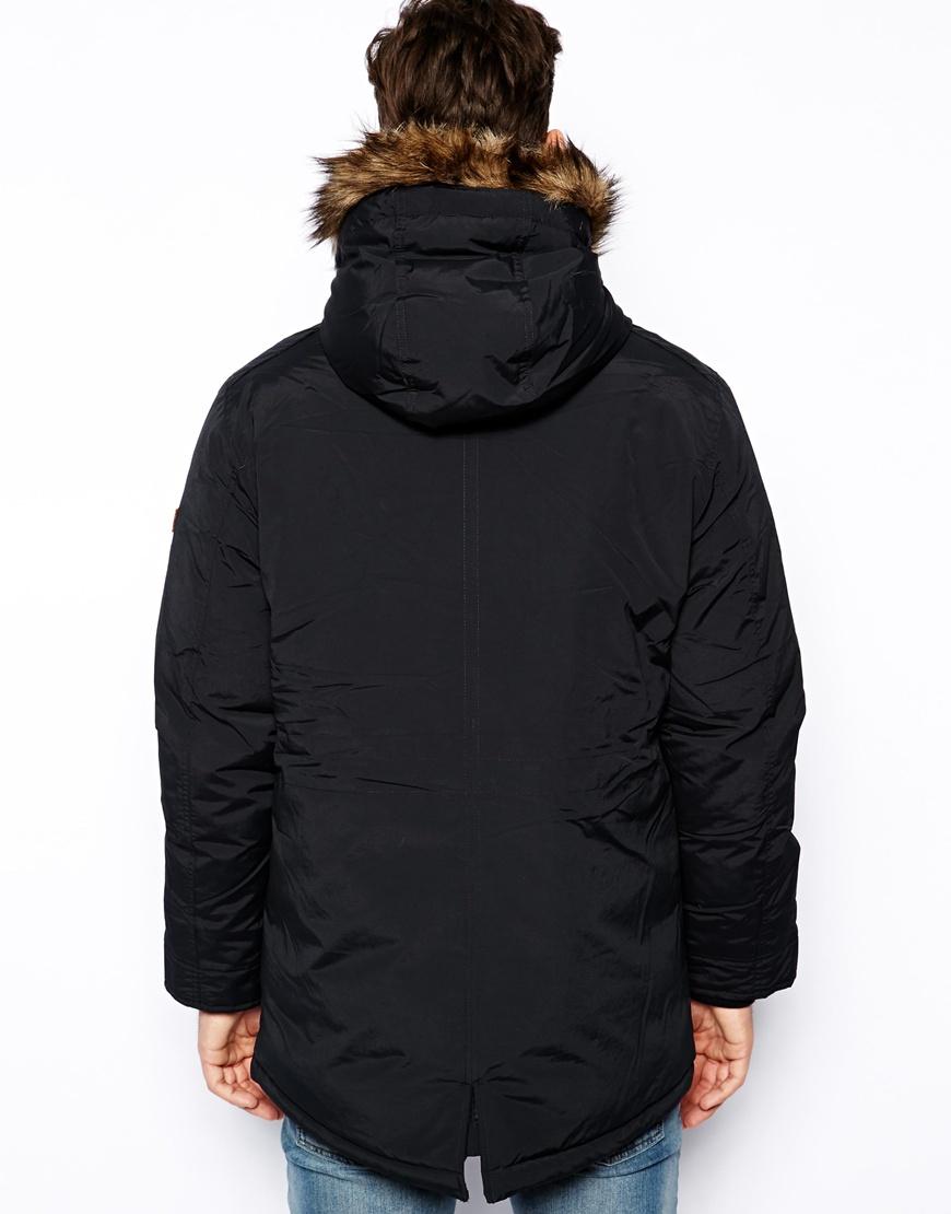 Esprit Parka Jacket with Hood in Black for Men | Lyst