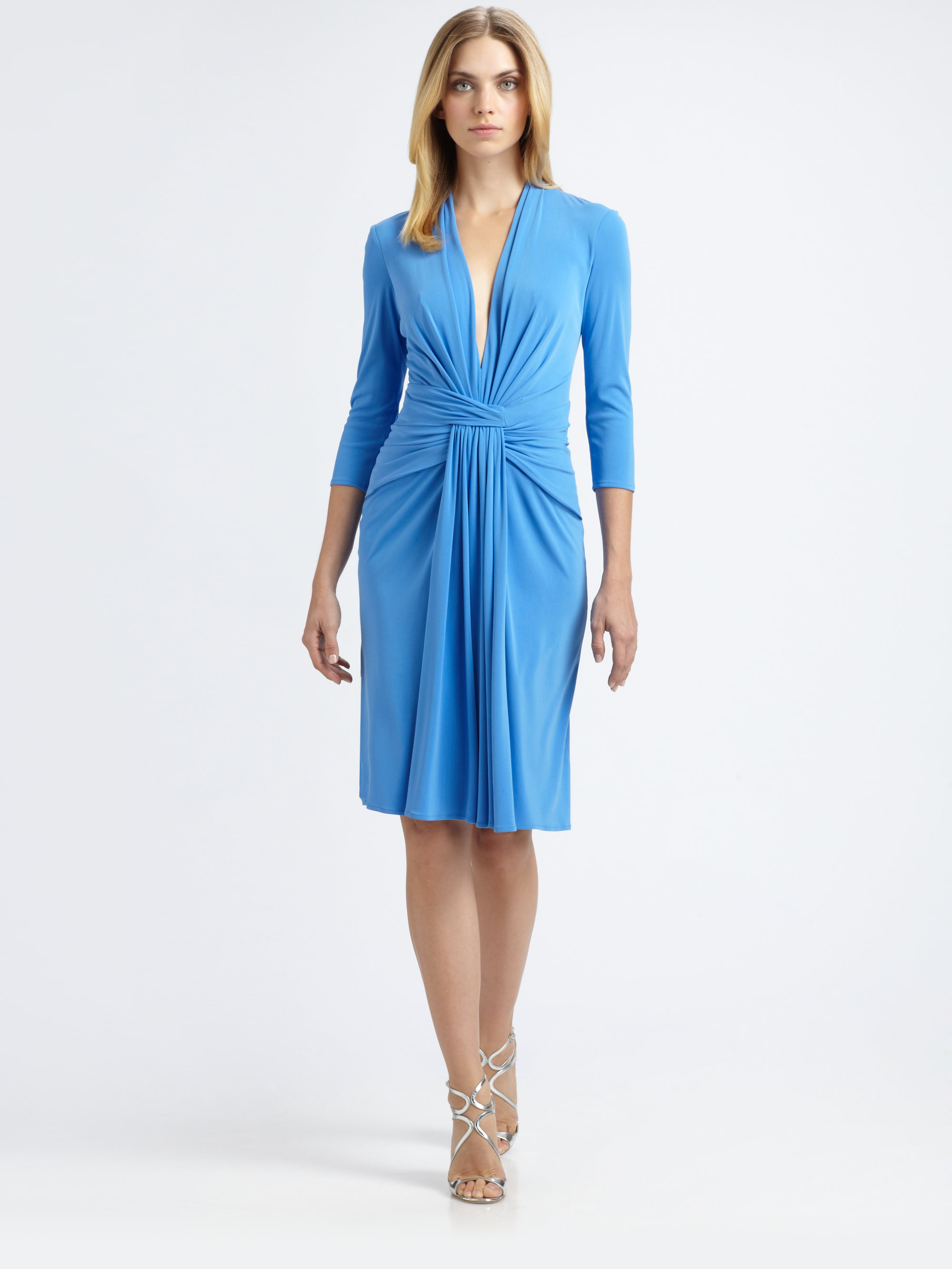 Issa Silk Jersey Dress In Denim Blue Lyst
