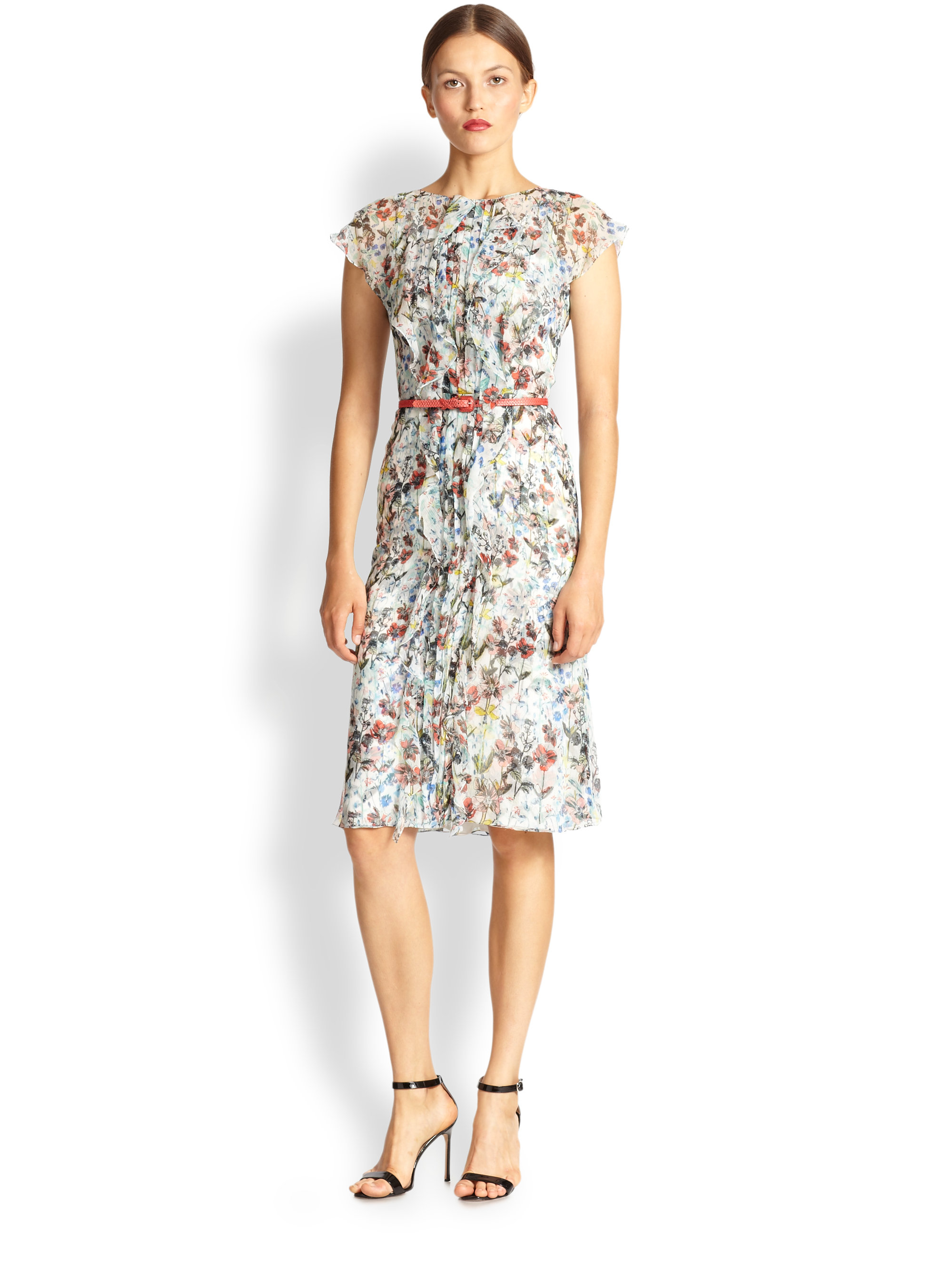 Lyst Carolina Herrera Belted Floral Silk Dress