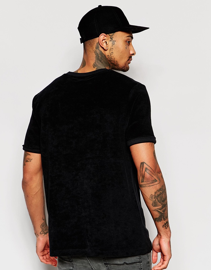 Lyst - Asos T-shirt In Towelling With Roll Sleeve In Black in ...