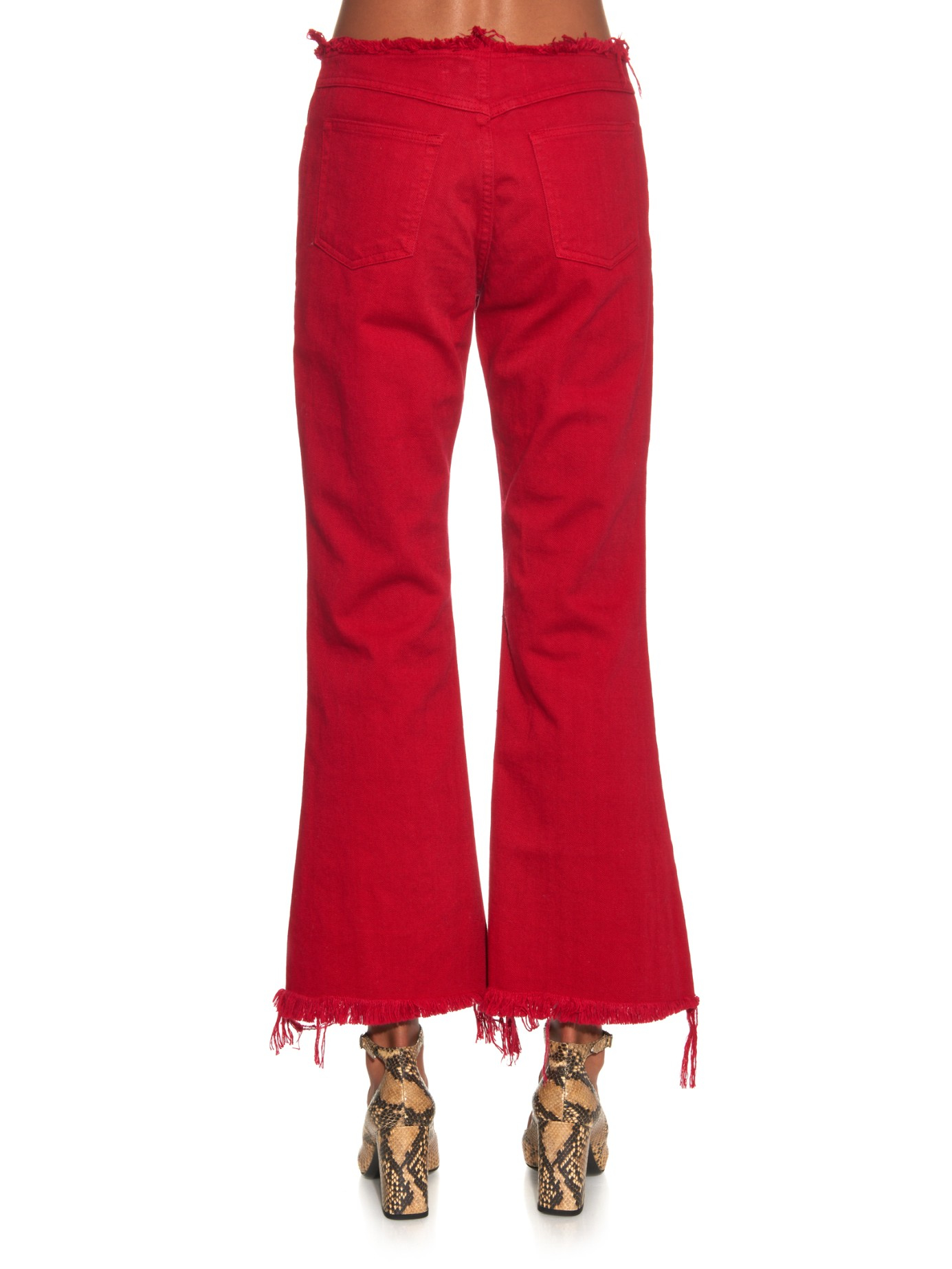Marques'almeida Capri Frayed-edge Flared Jeans in Red | Lyst