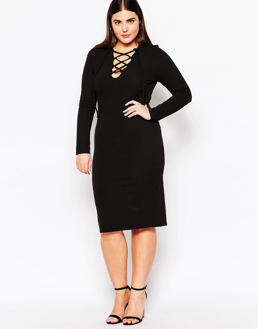 Plus Size Midi Bodycon Dress With Lace Up Front