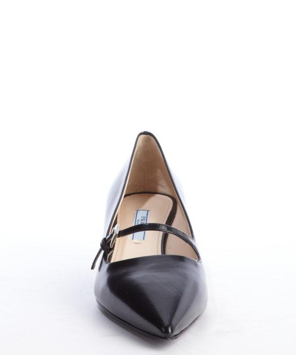 Prada Black Leather Pointed Toe Mary Jane Strap Kitten Heel Pumps ...