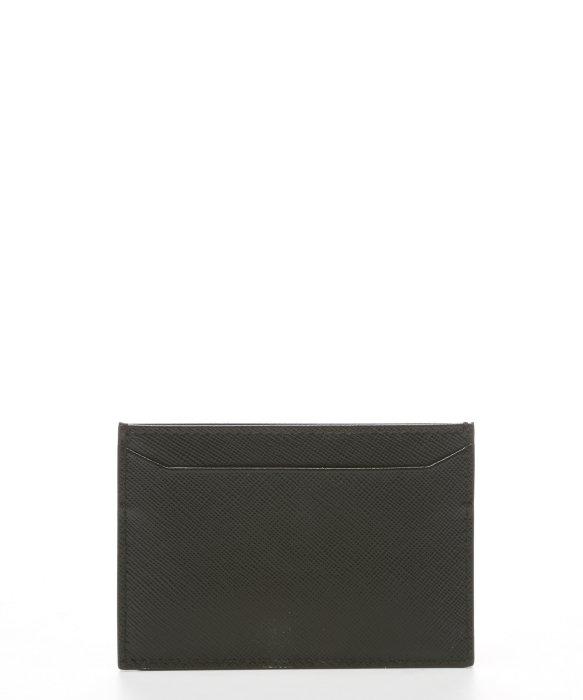 prada black leather card carrier