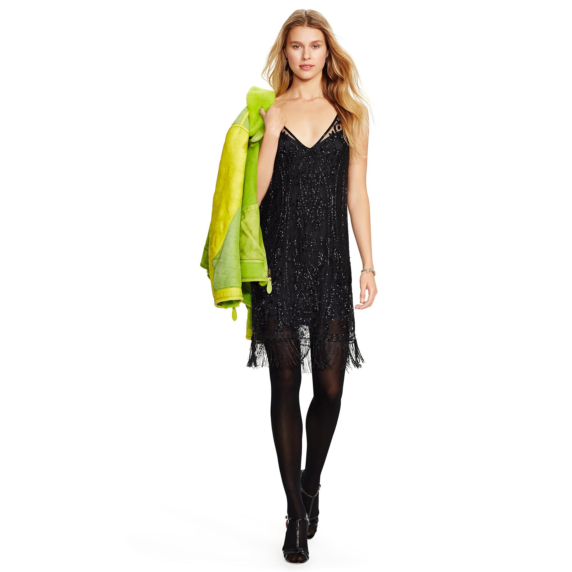 polo ralph beaded v back sleeveless dress in black