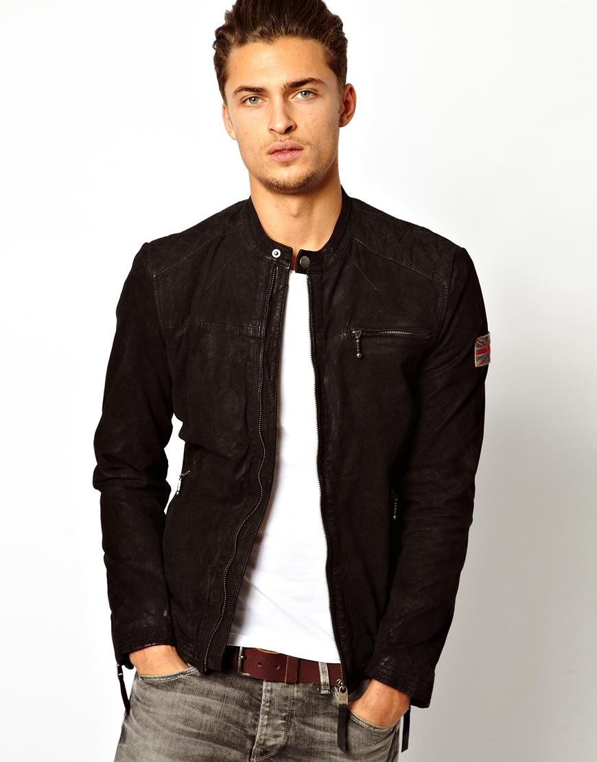 buy popular acb1b 3c4bf Pepe Jeans Pepe Leather Biker Jacket Gig Slim Fit in Black ...