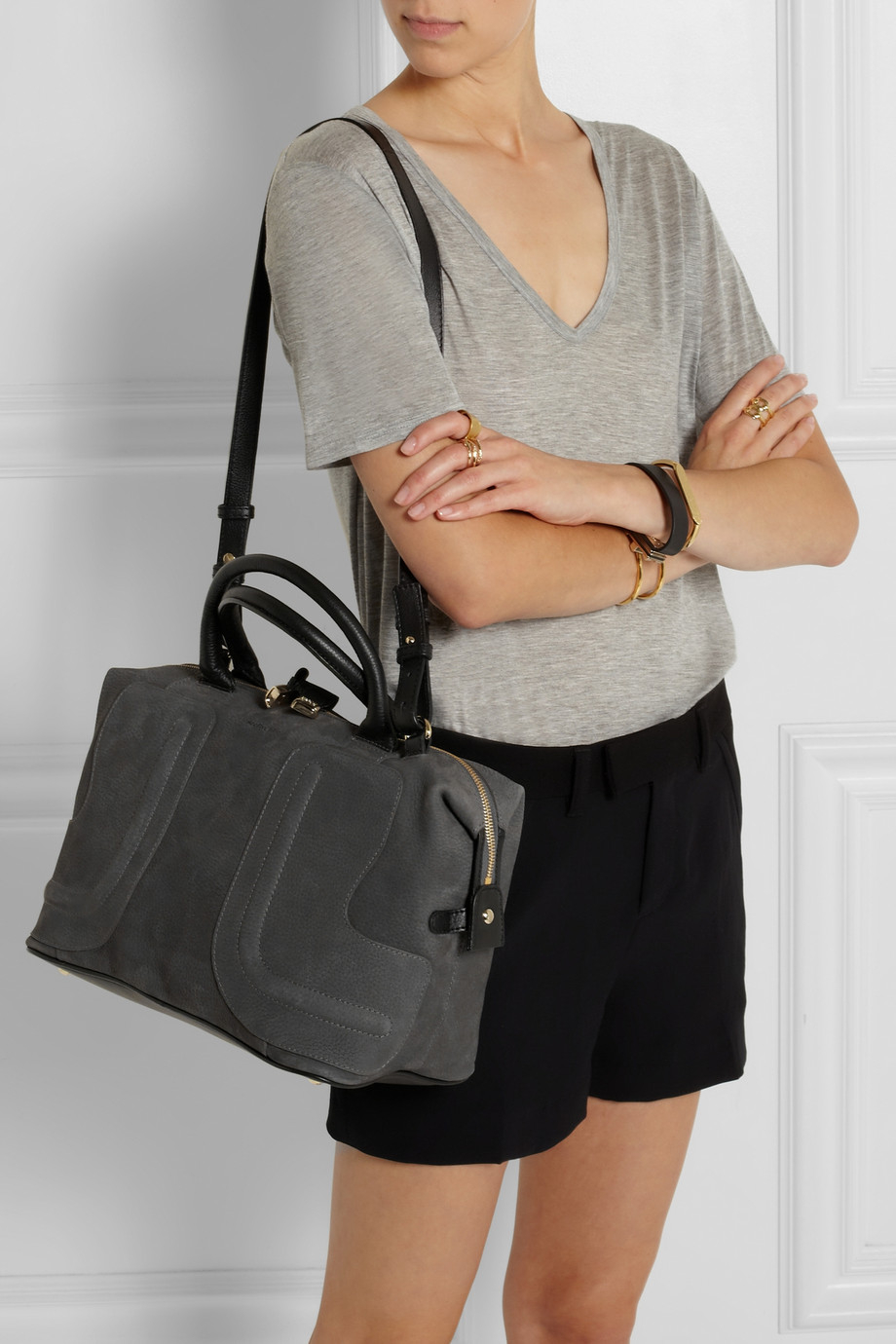Lyst - See By Chloé Kay Medium Leathertrimmed Nubuck Tote in Gray 4c604f5aaf1