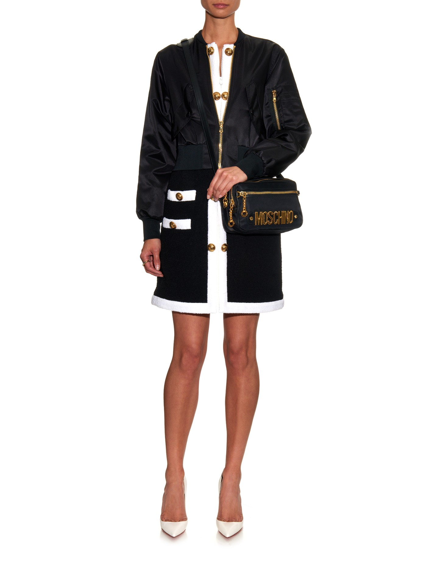 e567feab9 Moschino Lettering Cross-Body Bag in Black - Lyst