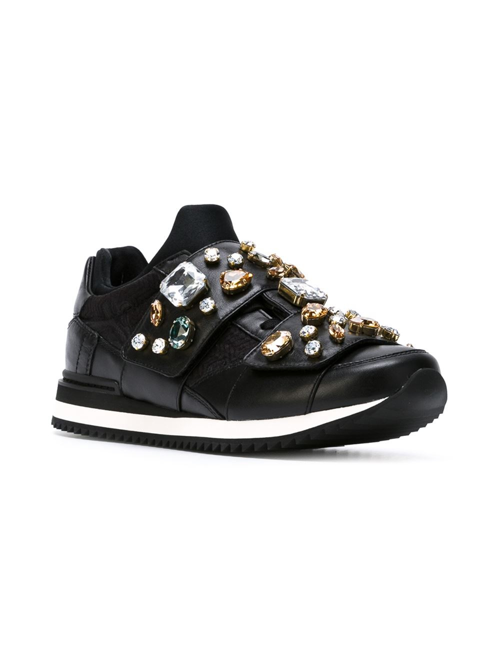 Dolce & Gabbana Crystal Embellished Sneakers in Black