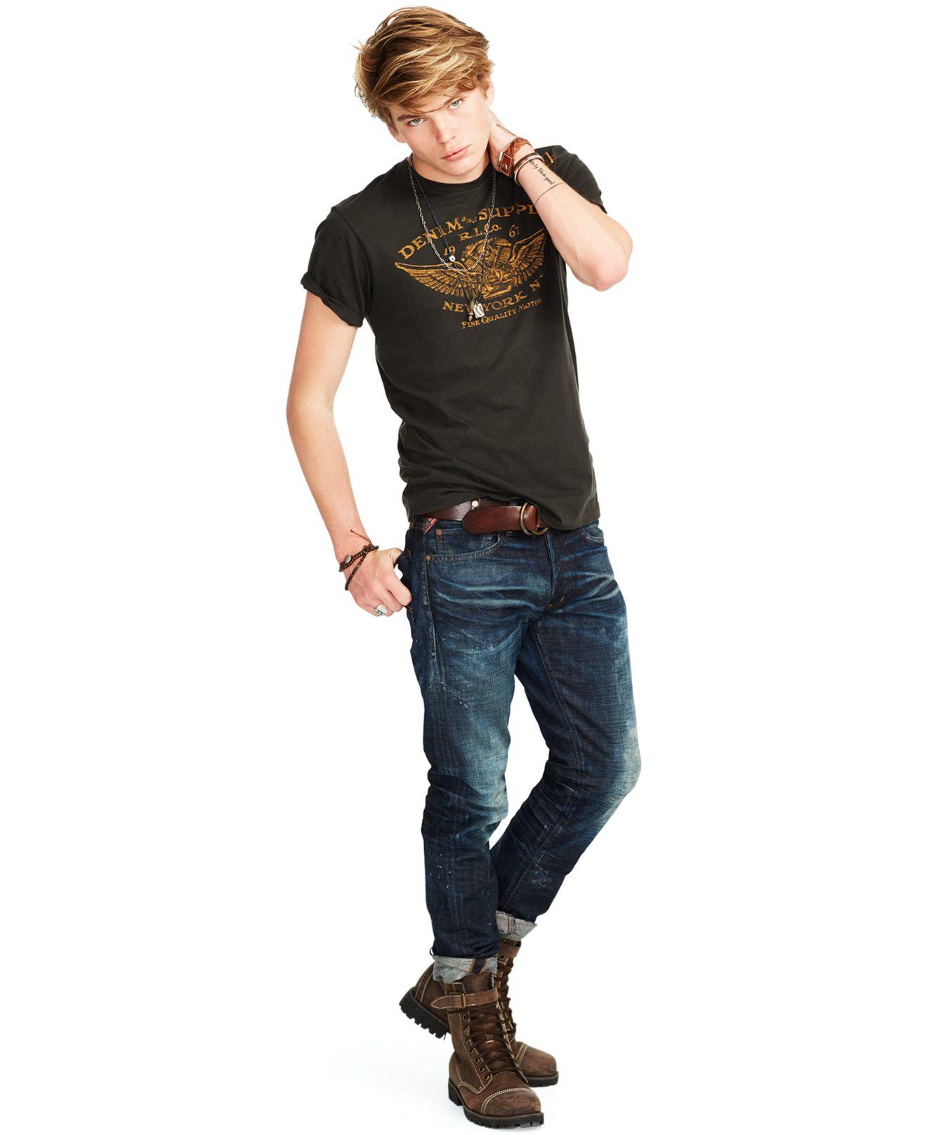 Denim Amp Supply Ralph Lauren Wing Jersey T Shirt In Black