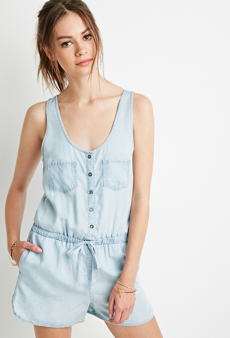 e9890651851 Lyst - Forever 21 Chambray Utility Romper in Blue