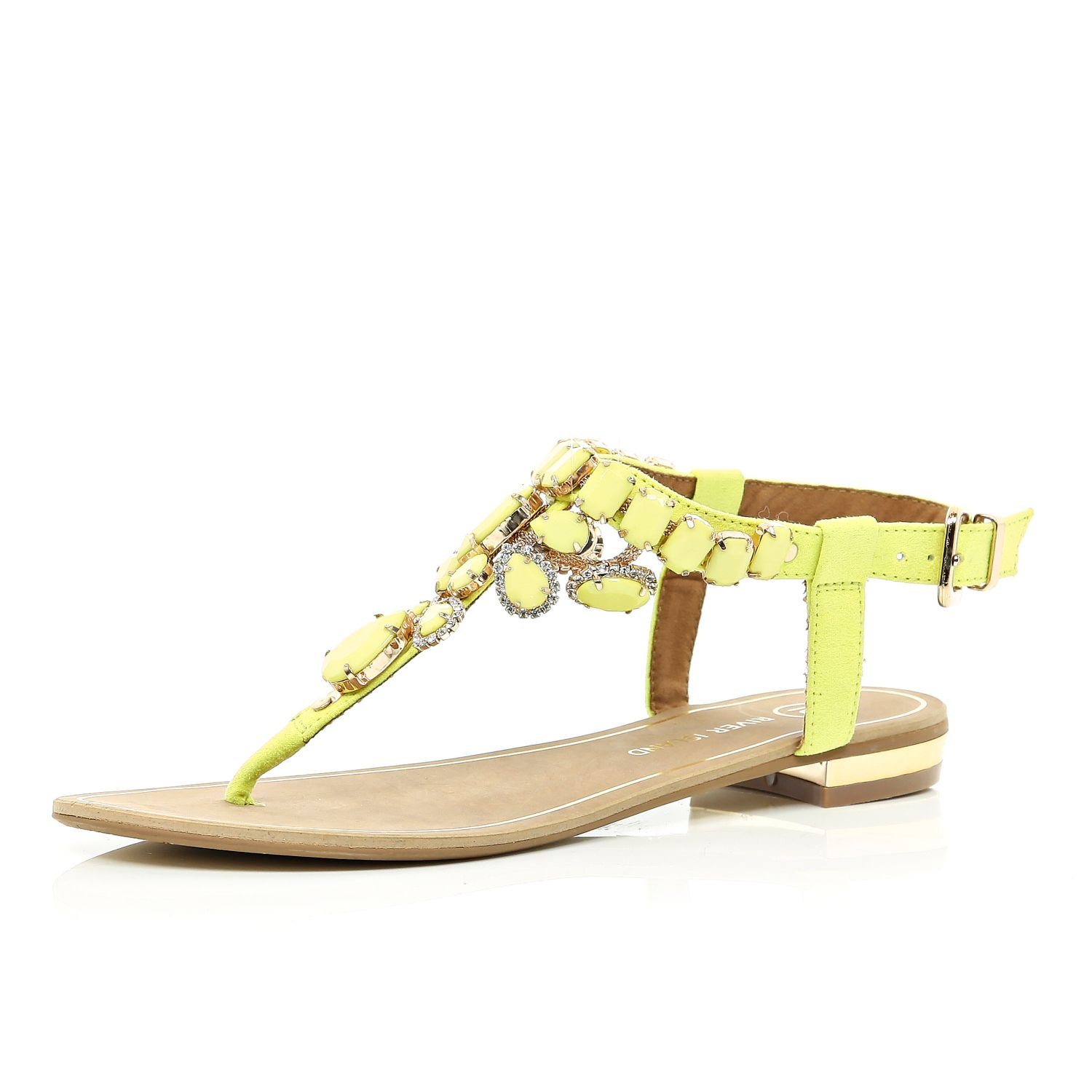 ced8842b8 River Island Yellow Gem Stone Embellished T Bar Sandals in Yellow - Lyst