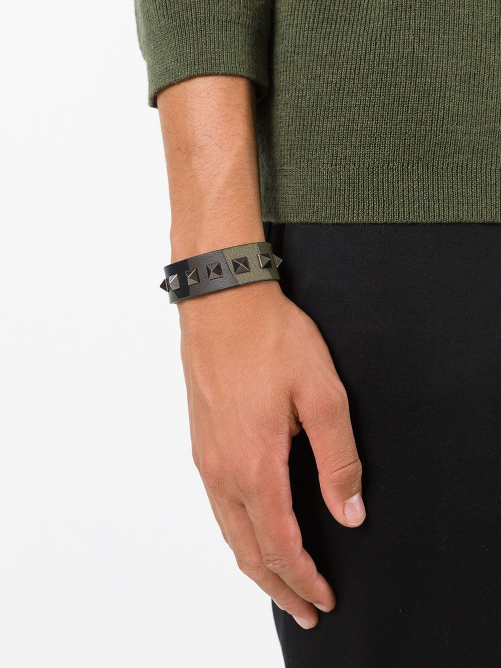 Valentino Rockstud Camouflage Bracelet In Green For Men