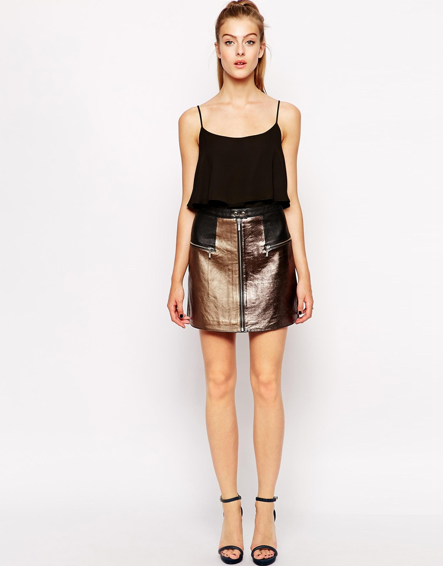 dress gallery mini leather skirt in multicolor multi lyst