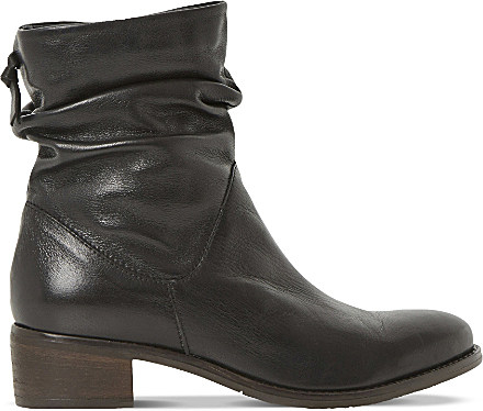 dune pager ruched leather ankle boots in black black