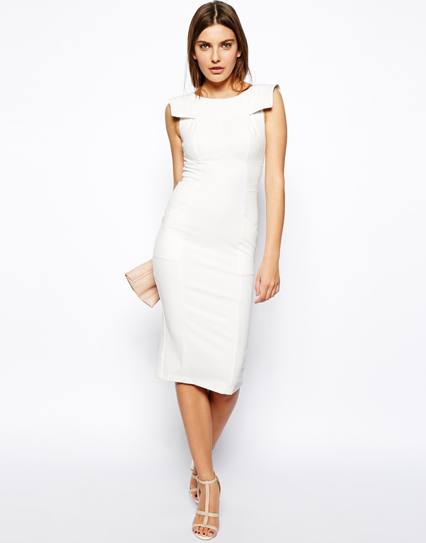 Asos Pencil Dress With Fold Sleeve Detail in White - Lyst