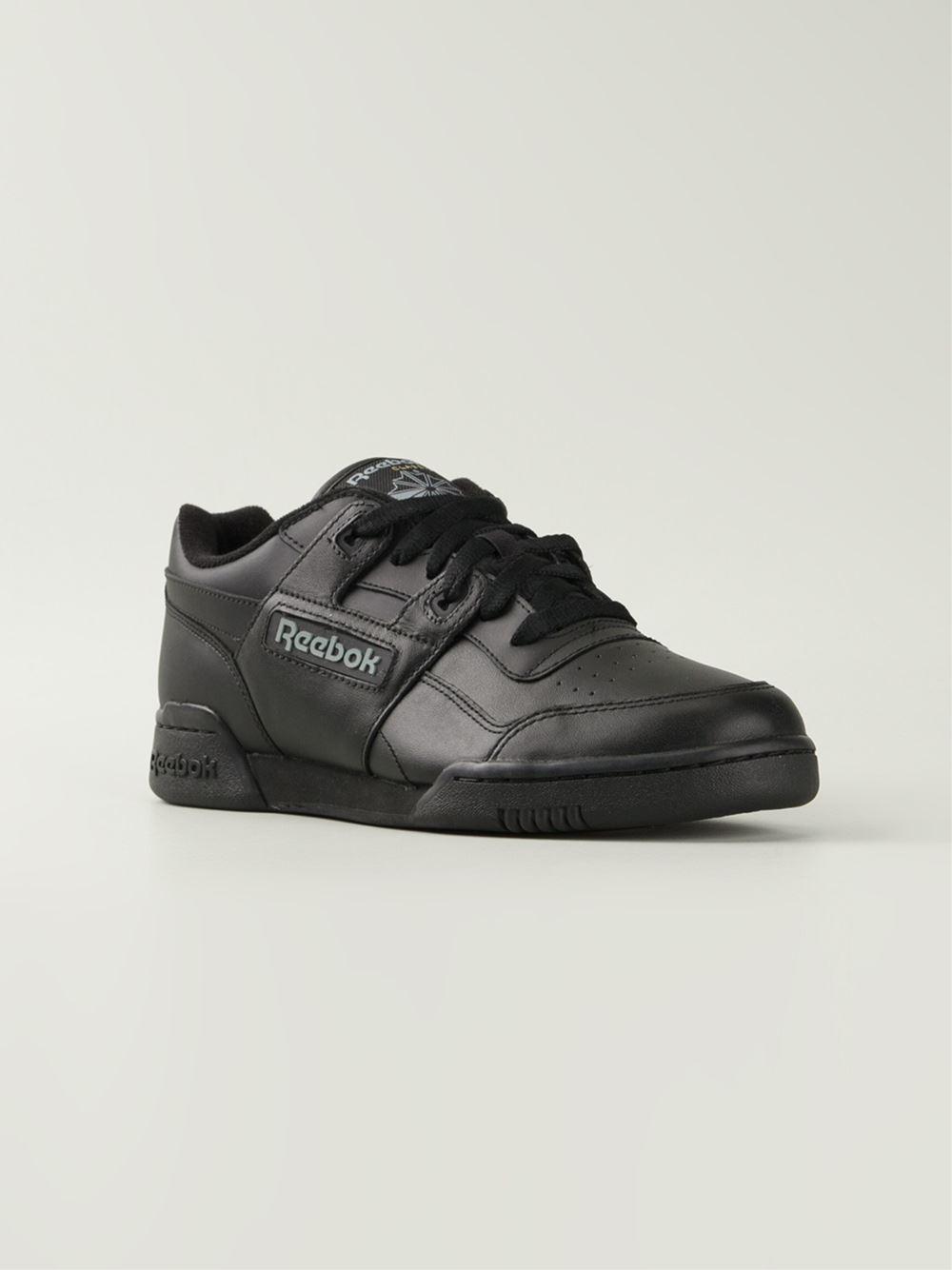 Reebok Workout Plus Leather Sneakers In Black | Lyst